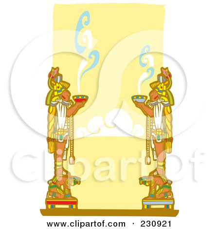 Royalty-Free (RF) Clipart Illustration of Mayan Men Offering Food To The Gods - 1 by xunantunich