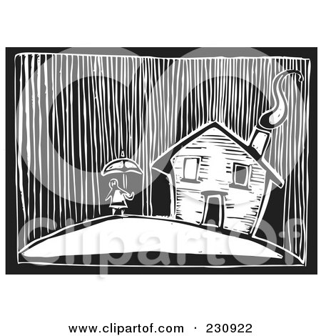 of a black and white woodcut styled girl by her home in a rain storm.
