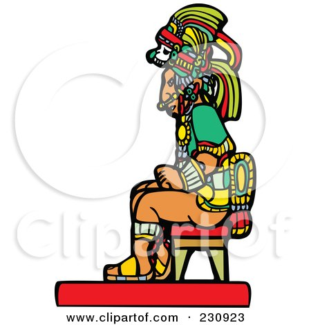 Royalty-Free (RF) Clipart Illustration of a Mayan Man Seated by xunantunich