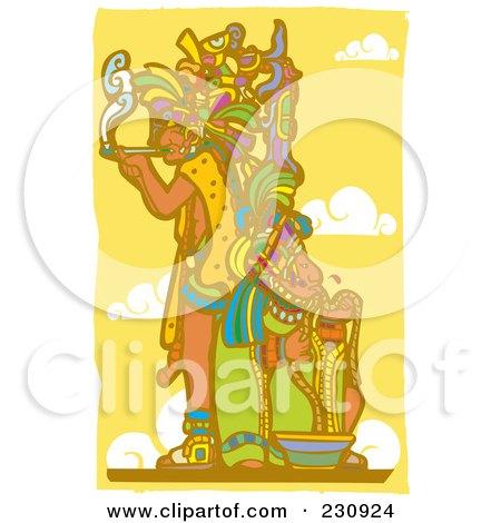 Mayan King Smoking - 2 Posters, Art Prints