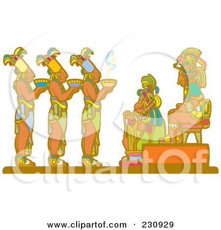 Mayan Servants Offering Food To Royalty Posters, Art Prints