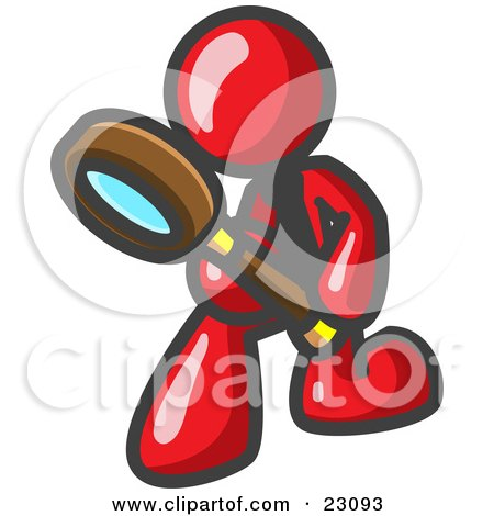 Clipart Illustration of a Red Man Bending Over to Inspect Something Through a Magnifying Glass by Leo Blanchette