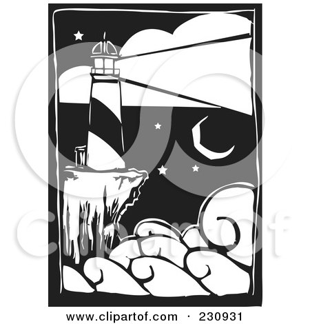 Royalty-Free (RF) Clipart Illustration of a Black And White Woodcut Styled Lighthouse With A Bright Beacon by xunantunich