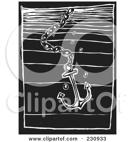 Royalty-Free (RF) Clipart Illustration of a Black And White Woodcut Styled Anchor In Water by xunantunich