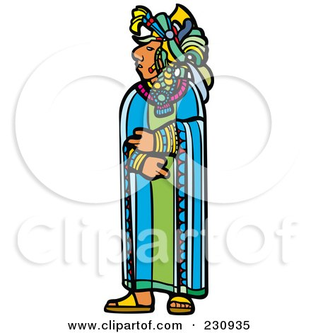 Royalty-Free (RF) Clipart Illustration of a Mayan King Standing by xunantunich