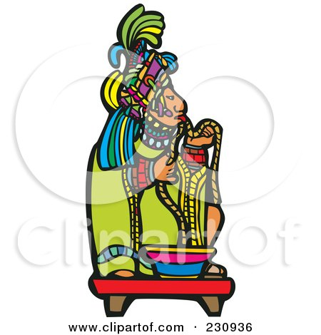 Royalty-Free (RF) Clipart Illustration of a Mayan King Eating by xunantunich