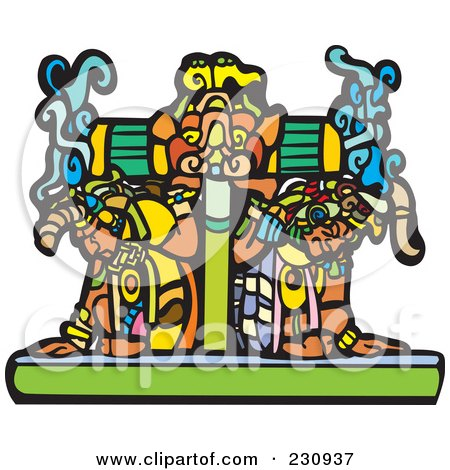 Royalty-Free (RF) Clipart Illustration of Two Mayans Carrying A Heavy Platform by xunantunich