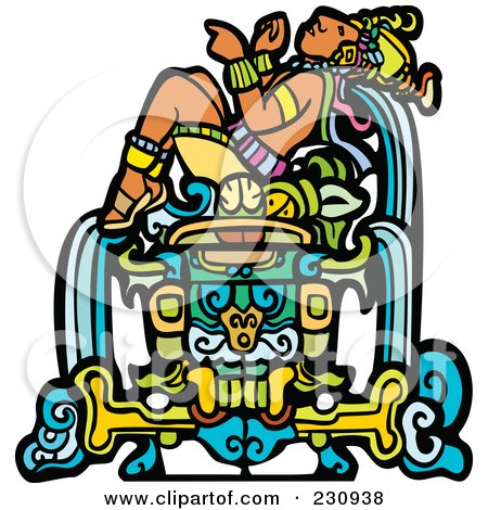 Royalty-Free (RF) Clipart Illustration of a Mayan King Reclined - 1 by xunantunich