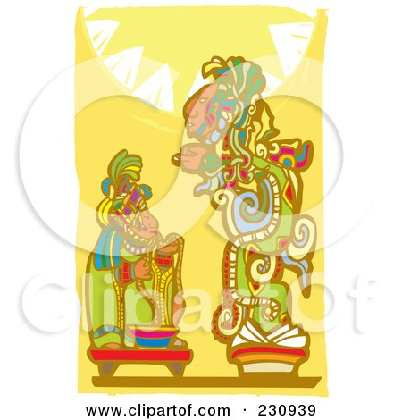 Royalty-Free (RF) Clipart Illustration of a Mayan King Making An Offering To A God by xunantunich