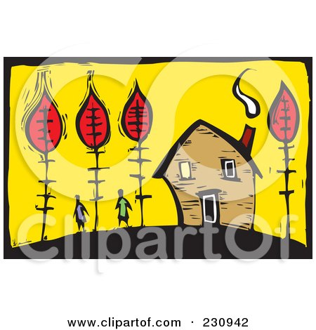 Royalty-Free (RF) Clipart Illustration of a Woodcut Styled Scene Of A Couple Near A Home With Autumn Trees by xunantunich