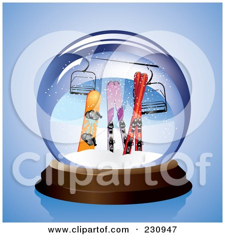 Royalty-Free (RF) Clipart Illustration of a Snowboard, Skis And A Lift In A Snow Globe by Eugene