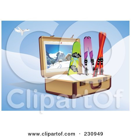 Royalty-Free (RF) Clipart Illustration of a Snowboard And Skis In A Suitcase Under A Plane by Eugene