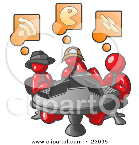 Clipart Illustration of Three Red Men Using Laptops in an Internet Cafe by Leo Blanchette