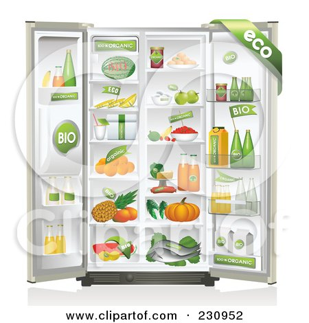 Royalty-Free (RF) Clipart Illustration of a Refrigerator Packed Full Of Organic Foods by Eugene