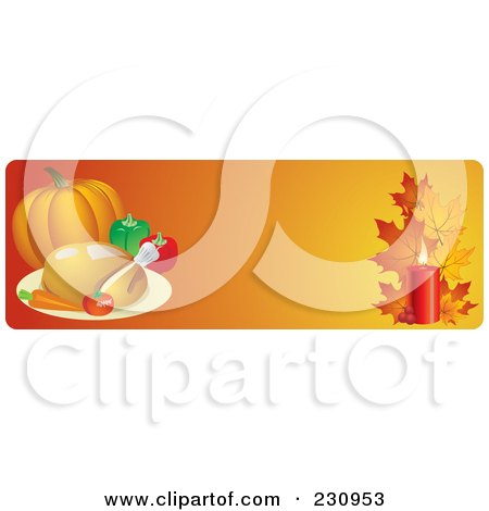 Royalty-Free (RF) Clipart Illustration of an Orange Thanksgiving Website Banner With A Roasted Turkey, Pumpkin And Fall Leaves by Eugene