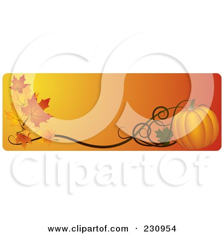 Royalty-Free (RF) Clipart Illustration of an Orange Thanksgiving Website Banner With A Pumpkin And Fall Leaves by Eugene