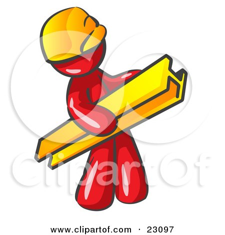 Clipart Illustration of a Red Man Construction Worker Wearing A Hardhat And Carrying A Beam At A Work Site by Leo Blanchette