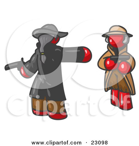 Clipart Illustration of a Red Man Challenging Another Red Man to a Duel With Pistils  by Leo Blanchette
