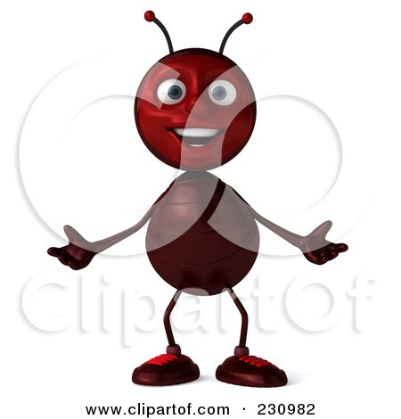 Royalty-Free (RF) Clipart Illustration of a 3d Worker Ant Standing And Shrugging by Julos