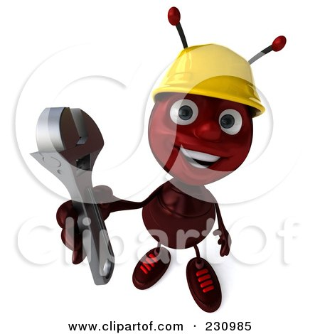 Royalty-Free (RF) Clipart Illustration of a 3d Worker Ant Holding A Wrench by Julos
