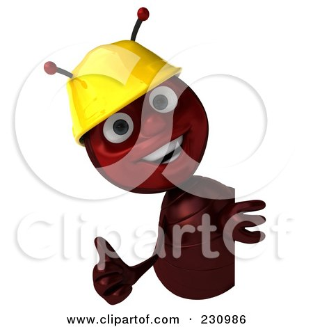Royalty-Free (RF) Clipart Illustration of a 3d Worker Ant Holding A Blank Sign - 3 by Julos