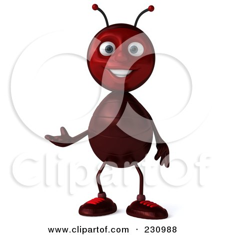 Royalty-Free (RF) Clipart Illustration of a 3d Worker Ant Standing And Gesturing by Julos
