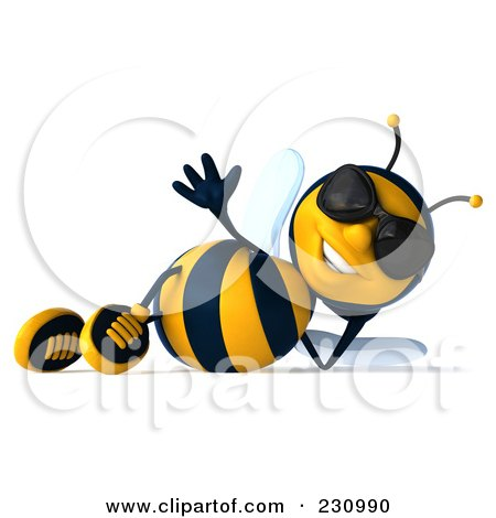 Royalty-Free (RF) Clipart Illustration of a 3d Bee Character Wearing Shades And Relaxing by Julos