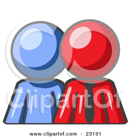 Clipart Illustration of a Blue Person Standing Beside A Red Businessman, Symbolizing Teamwork Or Mentoring by Leo Blanchette