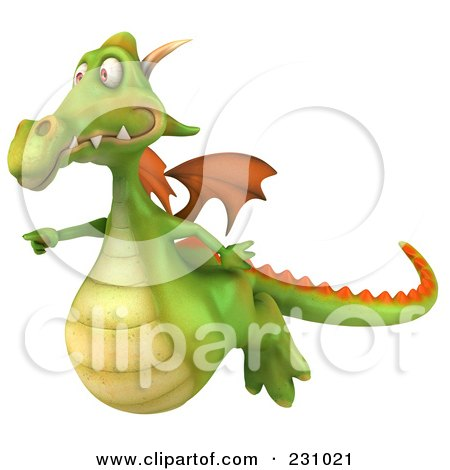 Royalty-Free (RF) Clipart Illustration of a 3d Dragon Flying And Pointing Left by Julos