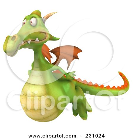 Royalty-Free (RF) Clipart Illustration of a 3d Dragon Flying Left by Julos