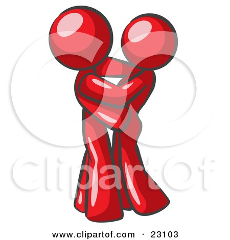 Clipart Illustration of a Red Man Gently Embracing His Lover, Symbolizing Marriage And Commitment by Leo Blanchette