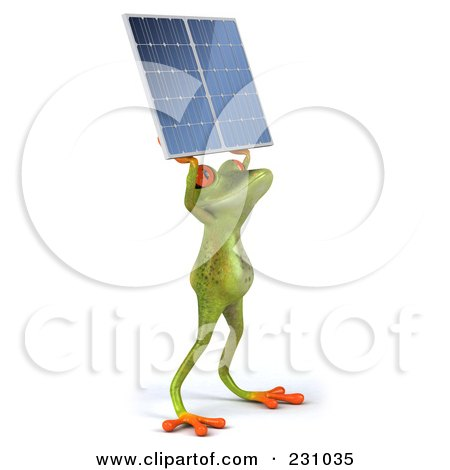 Royalty-Free (RF) Clipart Illustration of a 3d Springer Frog Holding A Solar Panel - 1 by Julos