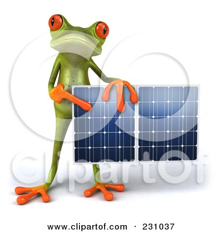 Royalty-Free (RF) Clipart Illustration of a 3d Springer Frog Holding A Solar Panel - 3 by Julos