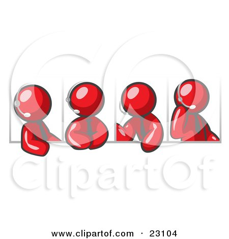 Clipart Illustration of Four Different Red Men Wearing Headsets And Having A Discussion During A Phone Meeting by Leo Blanchette