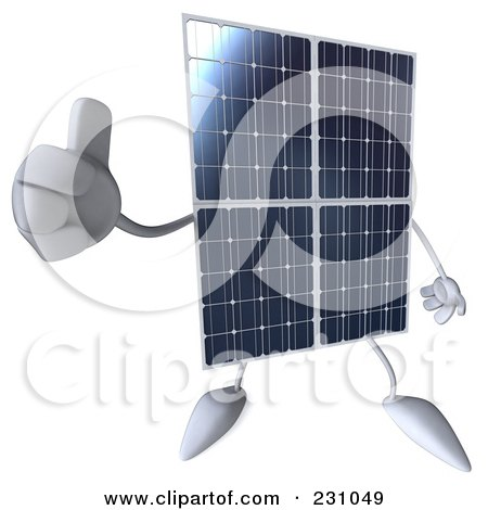 Royalty-Free (RF) Clipart Illustration of a 3d Solar Panel Character Holding A Thumb Up by Julos