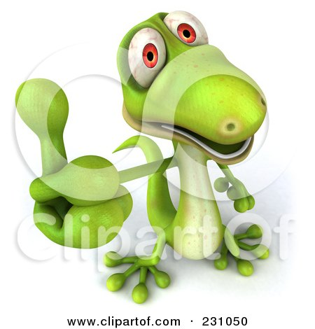 Royalty-Free (RF) Clipart Illustration of a 3d Green Lizard Holding A Thumb Up by Julos