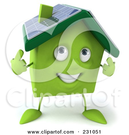 Royalty-Free (RF) Clipart Illustration of a 3d Green Clay Home With Solar Panels On The Roof - 2 by Julos