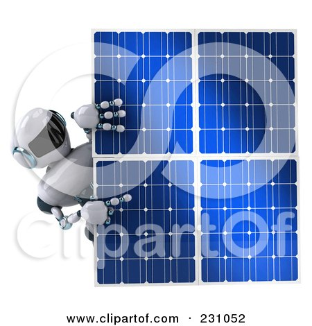Royalty-Free (RF) Clipart Illustration of a 3d Techno Robot Holding A Solar Panel - 1 by Julos