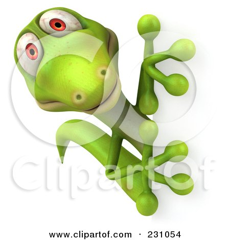 Royalty-Free (RF) Clipart Illustration of a 3d Green Lizard With A Blank Sign - 6 by Julos