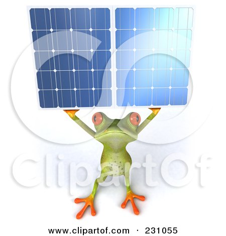 Royalty-Free (RF) Clipart Illustration of a 3d Springer Frog Holding A Solar Panel - 2 by Julos