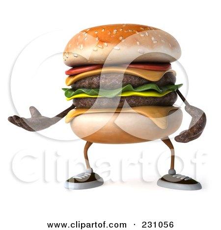 Royalty-Free (RF) Clipart Illustration of a 3d Hamburger Character Gesturing by Julos