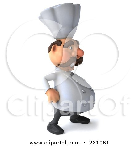 Royalty-Free (RF) Clipart Illustration of a 3d Chef Man Facing Right With His Hands On His Hips by Julos