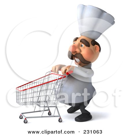 Royalty-Free (RF) Clipart Illustration of a 3d Chef Man Pushing A Shopping Cart To The Left by Julos