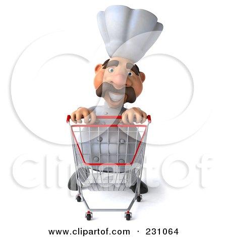 Royalty-Free (RF) Clipart Illustration of a 3d Chef Man Pushing A Shopping Cart Forward by Julos
