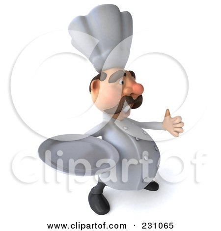 Royalty-Free (RF) Clipart Illustration of a 3d Chef Man Holding A Thumb Up And A Plate by Julos