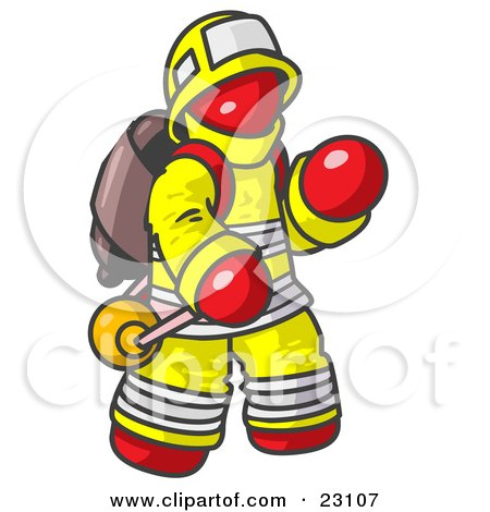 Clipart Illustration of a Red Fireman in a Uniform, Fighting a Fire by Leo Blanchette