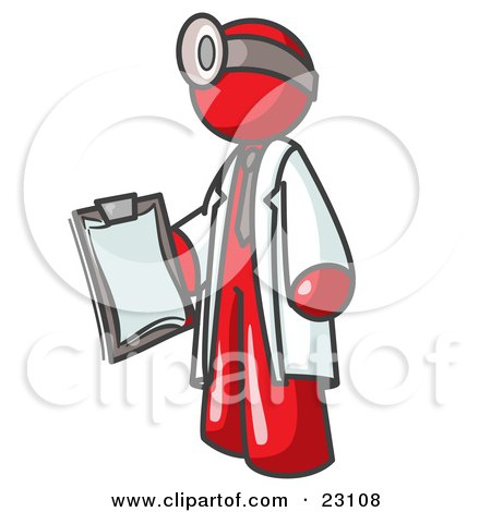 Red Male Doctor Holding a Clipboard And Wearing a Head Lamp Posters, Art Prints
