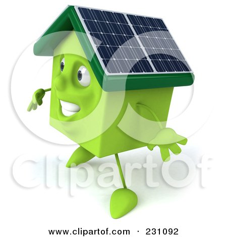 Royalty-Free (RF) Clipart Illustration of a 3d Green Clay Home With Solar Panels On The Roof - 5 by Julos