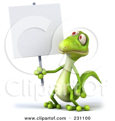 Royalty-Free (RF) Clipart Illustration of a 3d Green Lizard With A Blank Sign - 1 by Julos