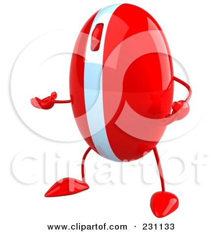 Royalty-Free (RF) Clipart Illustration of a 3d Red Computer Mouse Character Gesturing - 2 by Julos